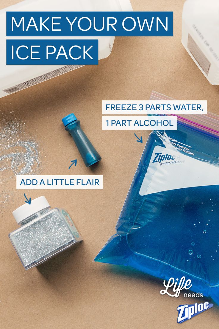 Now that the kiddos are playing outside again, they're bound to get little boo-boos. We like to make our own ice packs for the summer. All you need is a Ziploc® bag, water, rubbing alcohol and a little food coloring.