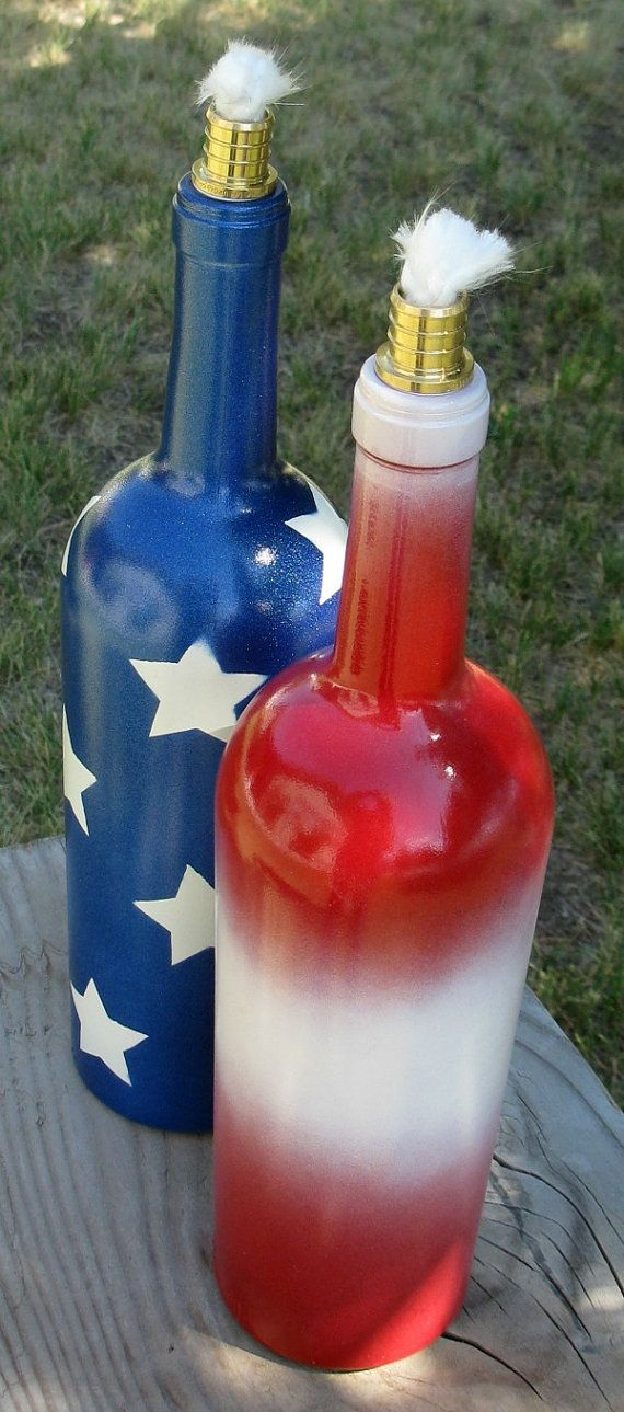 Wine bottle tiki torch, torch light, patio lighting, patriotic lighting, outdoor lighting, garden light, oil lamp, red white and blue light  We were at a friends home one evening and they were using wine bottle tiki torches for the outdoor lighting and to keep the mosquitoes away with the Citronella oil. They produced great soft lighting and I immediately loved them and decided to make some myself.  These two tiki torches come as a set to complete the patriotic theme. They both have wicks…