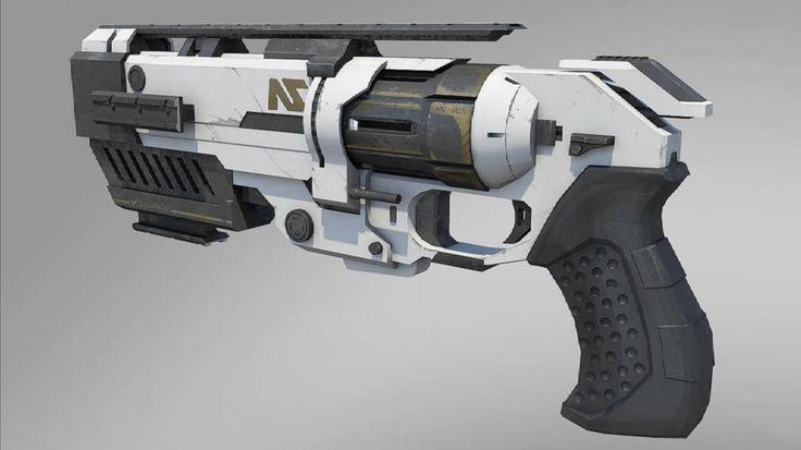 futuristic break barrel revolver concept