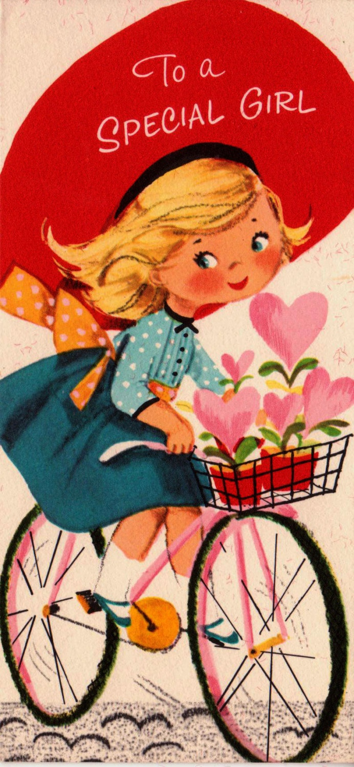Vintage To A Special Girl Valentines Day Greetings Card (B7)
