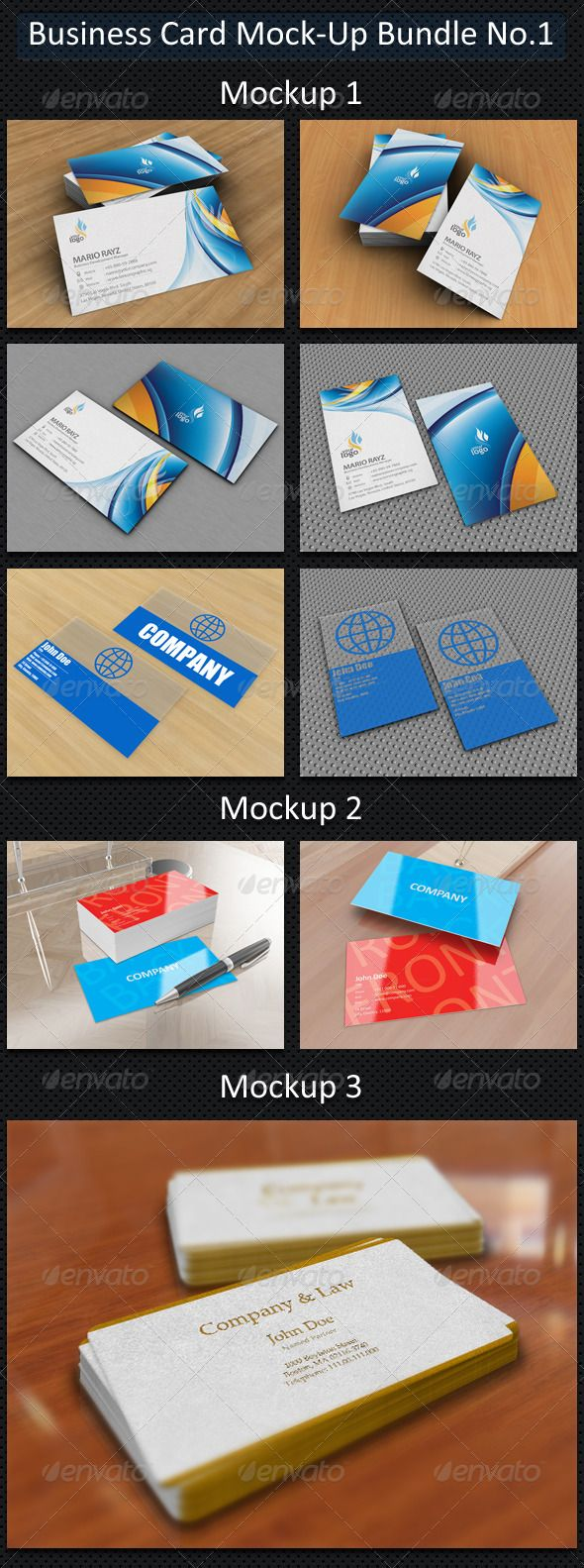 "Business Card Mock-Up Bundle No.1  #GraphicRiver        Business Card Mock-Up Bundle No.1 Bundle elements:   Business Card Mock-Up No.1  Business Card Mock-Up No.2  Business Card Mock-Up No.3  Mockup Descriptions: Business Card Mock-Up No.1 Update: Added support for plastic business cards  Features   Optimized for 3.5"" x 2"" cards.  Editable via smart object  4 types of mock-ups, 2 for horizontal and 2 for vertical business cards  High resolution 1500×1125px  Customizable background and cards…"