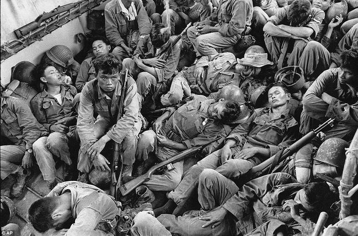 This photo is an example of war photojournalism by showing South Vietnam soldiers sleep on a U.S. navy troop carrier during the Vietnam War. The photo is from a book titled Vietnam:The Real War showcasing about 300 images from the war.  http://www.annenbergspaceforphotography.org/exhibition/war