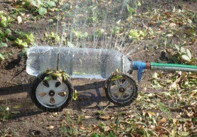 from SeedsNow.com:  A soda bottle, some duct tape, and junked wheels if you want to pull it around!
