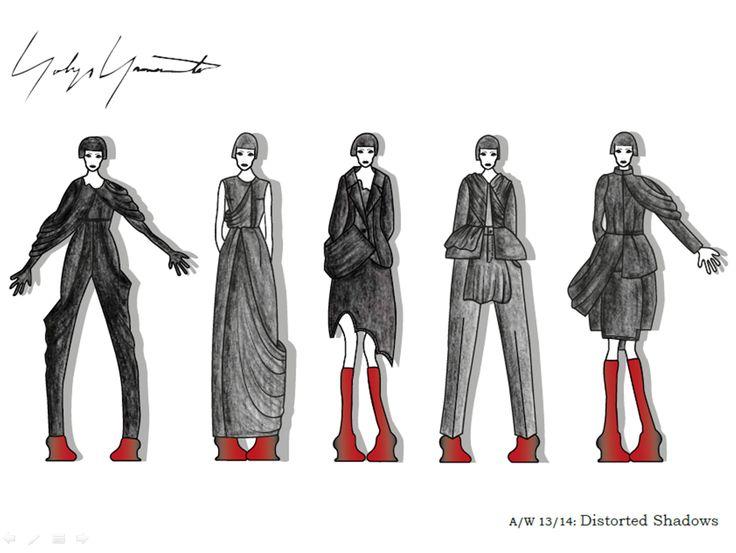Year 2, Semester 2, Yohji Yamamoto project. Final illustration board 1