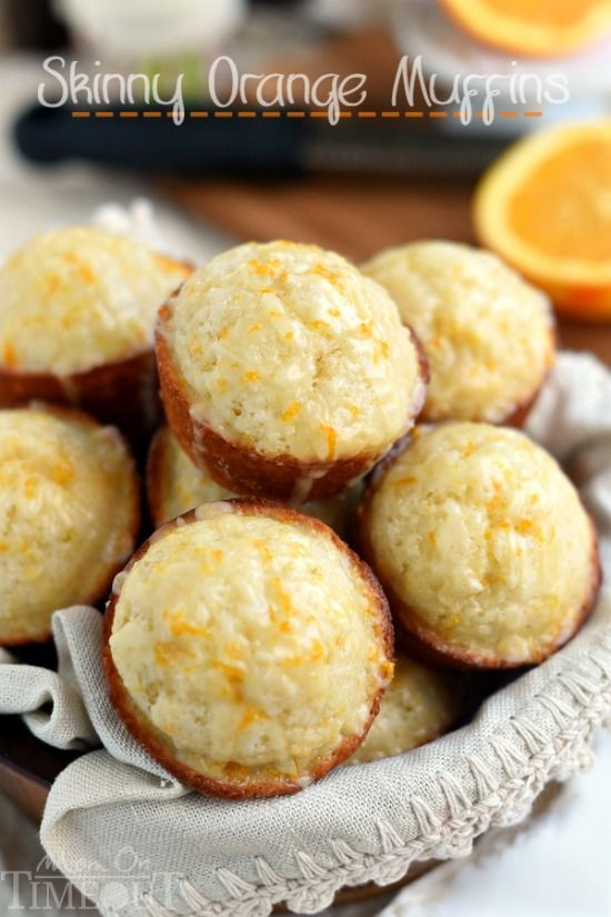 These Skinny Orange Muffins are made with Greek yogurt and plenty of orange zest for a terrific, bright orange flavor! So tender and moist, these muffins are a great way to start to your day!   MomOnTimeout.com   #breakfast #brunch #muffin #recipe #orange