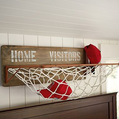 This is a sports theme from pbteen, but could easily be a DIY project in any theme to hold stuffed animals, etc.