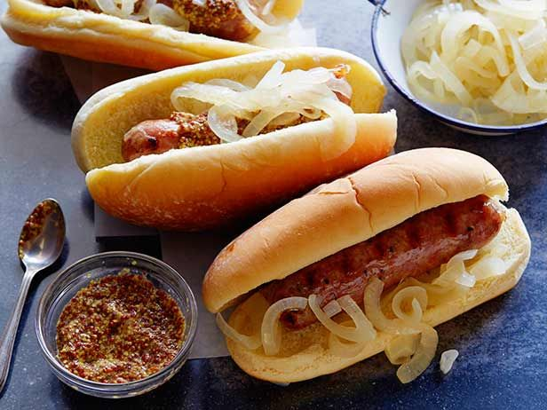 Recipe of the Day: Beer Brats         Braise plump pork sausages in beer with sweet onions and butter before moving them to the grill for a nice, golden crust. Don't be surprised if they're the juiciest links you've ever bundled in a bun.