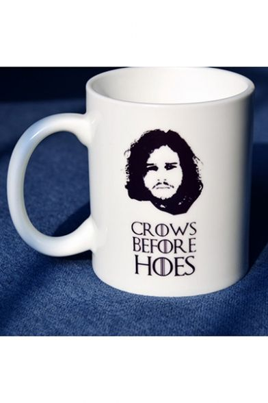 New Stylish Figure Letter CROWS BEFORE HOES Printed White Ceramic Mug Cup