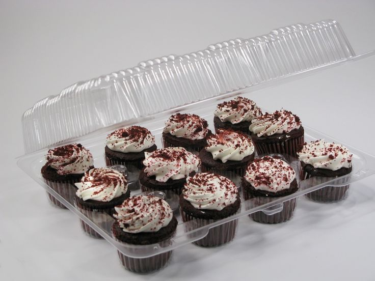 12 Cavity Plastic Cupcake Containers - Deep Dome -Pack of 10