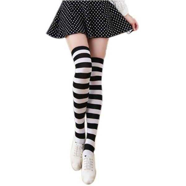 Womens Striped Thigh High Over Knee Stocking Socks (Black&white Wide... (18 BAM) ❤ liked on Polyvore featuring intimates, hosiery, socks, thigh high hosiery, over knee socks, wide socks, thigh high socks and black white striped socks