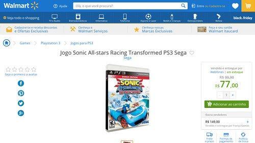 [Wal-Mart] Jogo Sonic All - stars Racing Transformed PS3 Sega 2249225 - de R$ 131,00 por R$ 77,00 (14% de desconto)