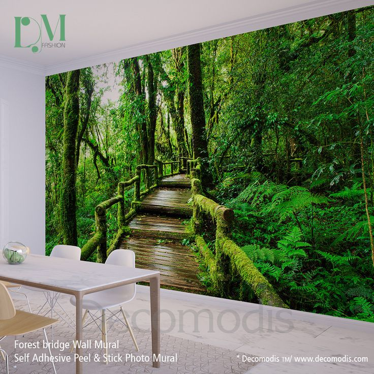 Wall Mural Deep Forest Bridge, Forest Photo Mural Self Adhesive Peel
