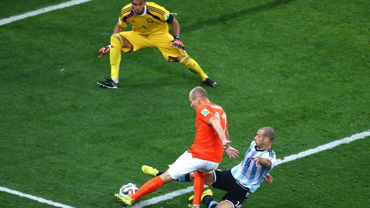 Javier Mascherano of Argentina tackles Arjen Robben of the Netherlands as he attempts a shot against goalkeeper Wednesday, 9 July 2014
