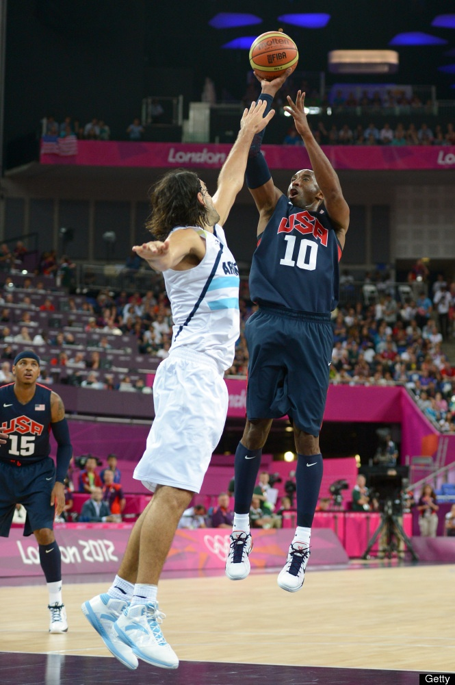 Kobe Bryant #10 of United States shoots the ball over Luis Scola #4 of Argentina in the first half during the Men's Basketball semifinal match on Day 14 of the London 2012 Olympic Games at the Basketball Arena on August 10, 2012 in London, England.
