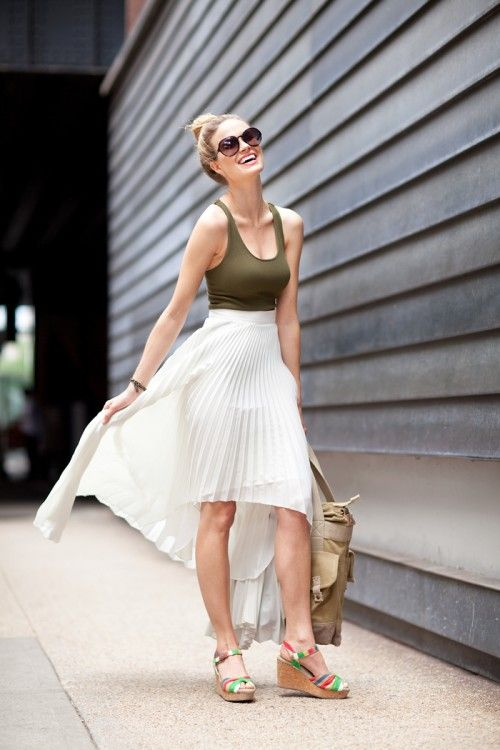 Models Off Duty, Celebrities Fashion, Summer Outfit, Fashion Style, Streetstyle Fashion, Fashion Fabulous, High Low, Mullets Skirts, Maxis Skirts