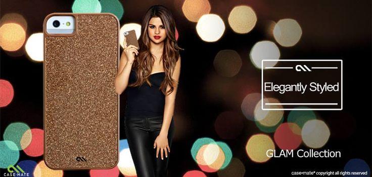 Selena Gomez with the glittery Glam case