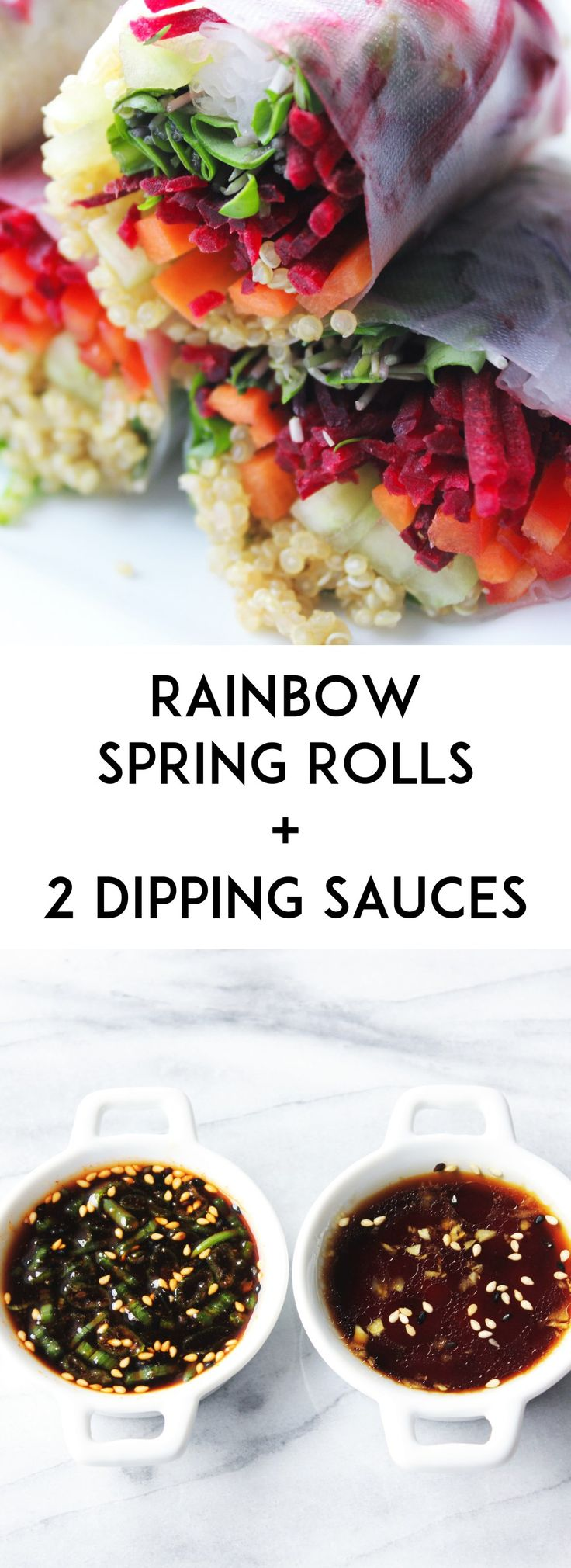 Rainbow Spring Rolls with 2 dipping sauces- A quick, healthy vegetarian dinner. Spring rolls filled with quinoa, carrots, beets, cucumber and greens. Dip it in a maple sesame sauce or a spicy soy sauce.