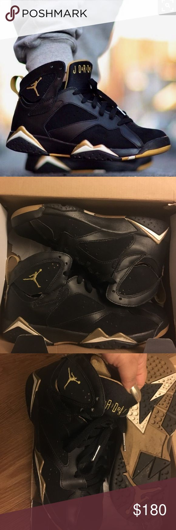 AIR JORDAN 7 GMP GOLD MEAL PACK 7Y 7 Y youth BLACK AIR JORDAN GMP GOLD MEAL PACK 7Y 7 Y youth BLACK pre loved but still very wearable condition. 100% AUTHENTIC . Soles replaced with a gel cushion when I purchased for hygiene reasons  which are included.  Make an OFFER with the offer button. Size 7 youth which is a women's 8. These are a VERY RARE SIZE AND COLLECTORS EDITION! Jordan Shoes Athletic Shoes