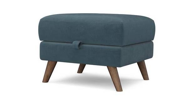 Laze Storage Footstool Velvet | DFS