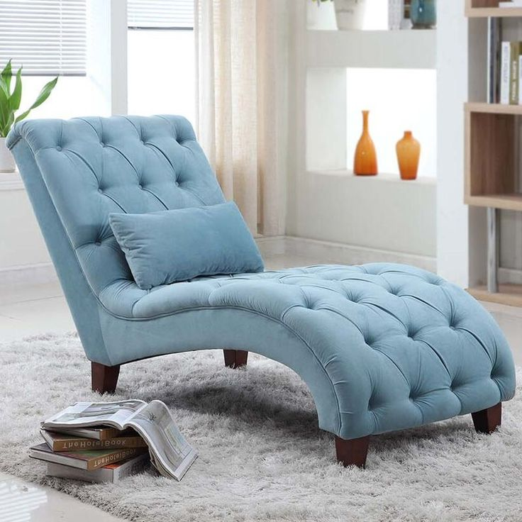 Accent Ottoman And Blue Chair
