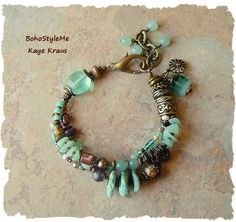 Boho Bracelet, Rustic Beaded Bracelet, Rocky Ocean Shoreline, Handmade Bohemian…