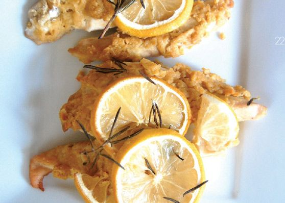 Hummus Crusted Chicken with Rosemary and Lemon.
