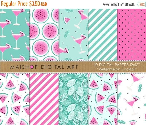 SALE Pink and Mint Digital Paper 'Watermelon by MaishopDigitalArt