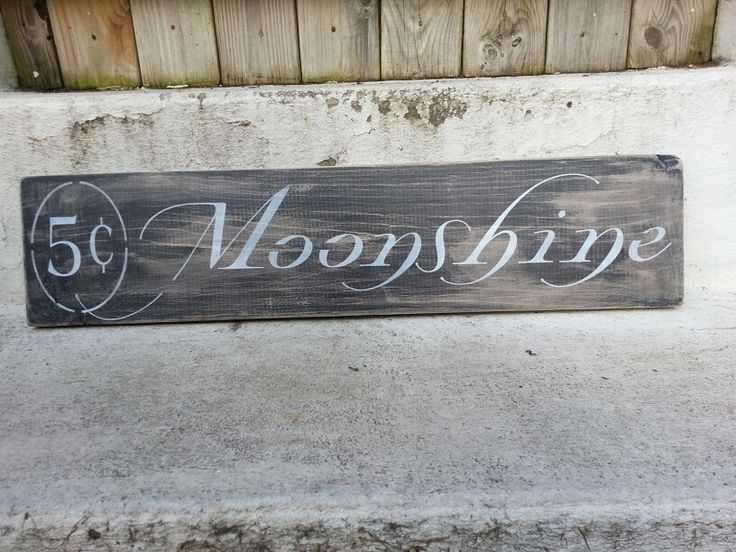 primitive wooden sign   moonshine   hand painted by wendy