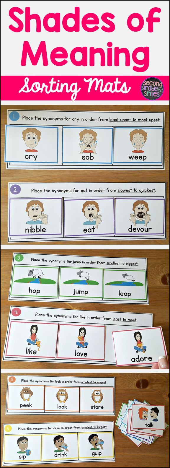 Need new synonym activities? Grab these shades of meaning mats and illustrated synonym word cards. These activities made a great literacy center for all my 2nd graders and were especially helpful for my ELLs!