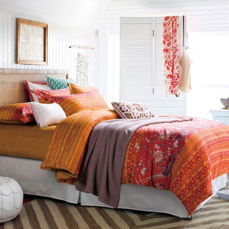 Rust Orange Red and Yellow Folk Pattern Stripe Print Shabby Chic Linen Southwestern Style 100% Cotton Full Size Bedding Sets