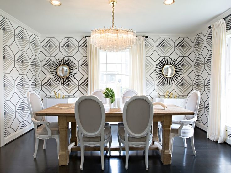 Great Love The #geometric Wallpaper Surrounding This Simple And Elegant Dining  Setup. #diningroom #
