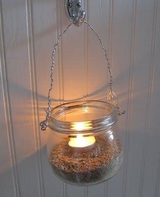 mason jar with sand <3