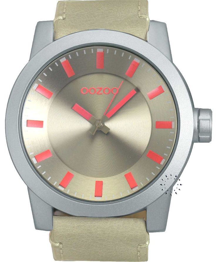 OOZOO Large Τimepieces Beige Leather Strap Η τιμή μας: 69€ http://www.oroloi.gr/product_info.php?products_id=34673