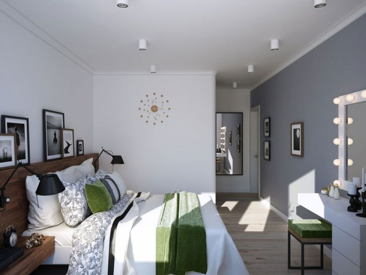 Headboard creates a picture ledger in the Scandinavian bedroom