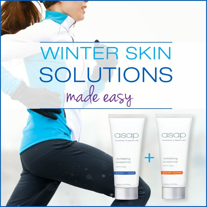 Get Body beautiful this winter!  Maximise your moisturiser with these key moves. 1) Clear away dead skin cells. They inhibit your moisturiser from absorbing properly. Exfoliate gently with asap revitalising bodyscrub scrub with invigorating essential oils. 2) Smooth revitalising bodymoist on damp skin. Did you know you have a three-minute window for best results? Wait any longer and moisture starts to evaporate before you can lock it in. Now you are ready to face the dehydrating winter…