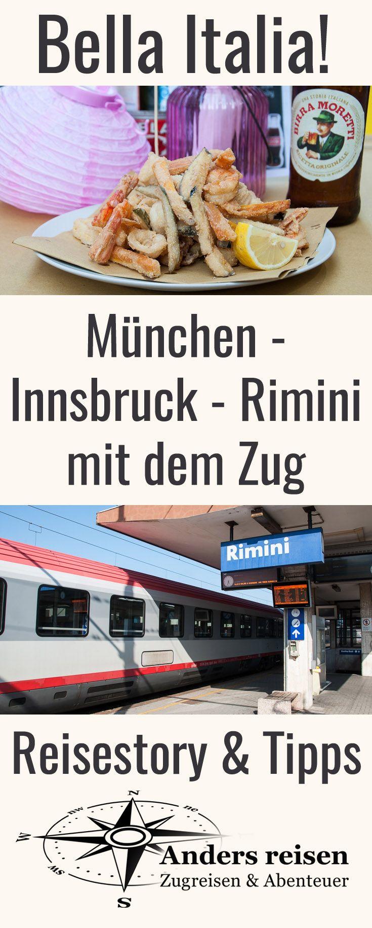 Mit dem Zug nach Italien in Urlaub reisen: München - Innsbruck - Rimini. Reisetipps, Reisestory und Erfahrungen von dieser direkten Zugverbindung an die Adria im Blog.