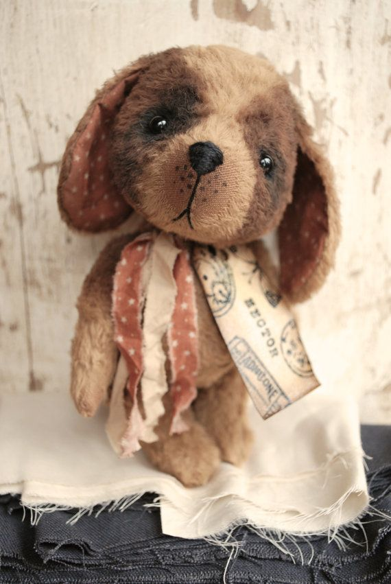 Artist Bear handmade Puppy Hector SOLD by bearwithmee on Etsy, £85.00