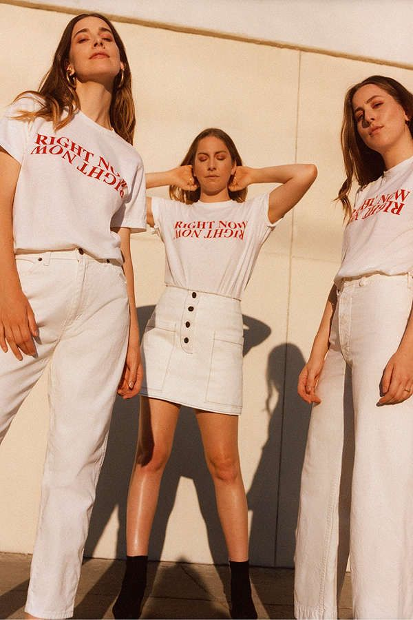 HAIM in their Right Now graphic tee