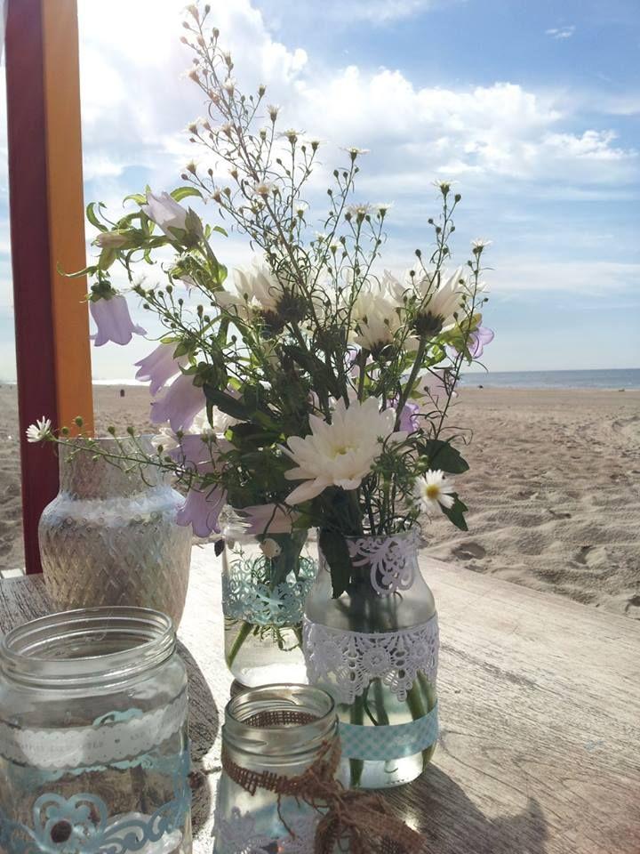 bloemen/strand bruiloft