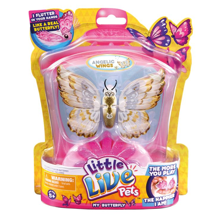 Little Live Pets Butterflies - Angel Wing Beautiful Little Live Pets Butterfly is your new pet friend that magically comes alive and flutters in the palm of your hand! Feel how real your new friend feels as it flaps and flitters its stunning  http://www.comparestoreprices.co.uk/childs-toys/little-live-pets-butterflies--angel-wing.asp