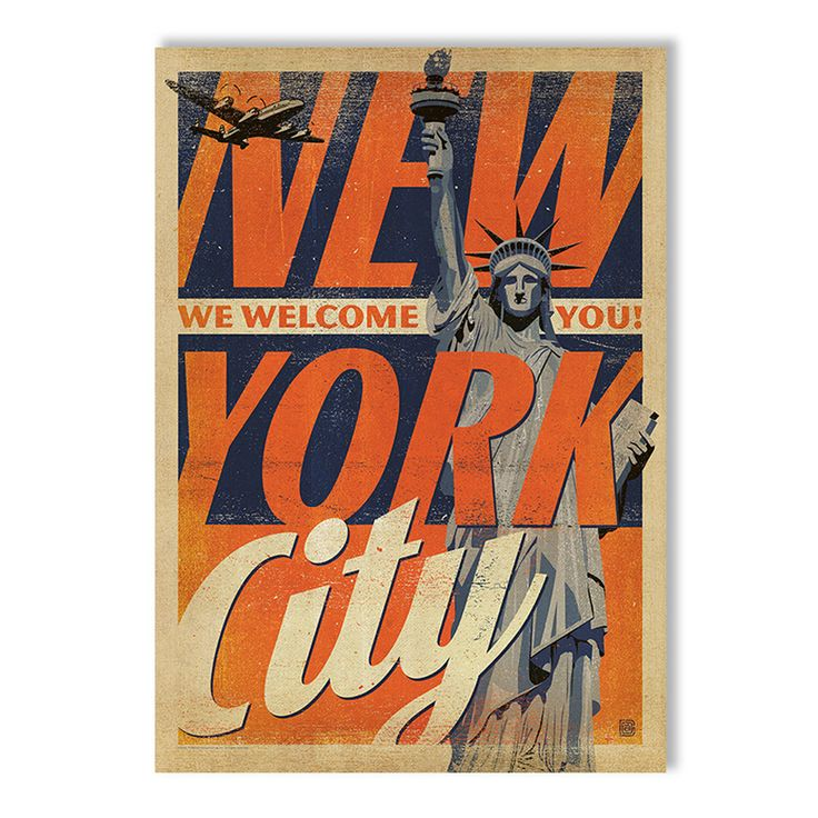 NYC Welcome You A2 Art Print by Vintage Travel Prints on POP.COM.AU