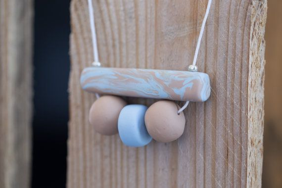 Polymer clay necklace. Bar necklace with 3 by HandmadebyjoDesign