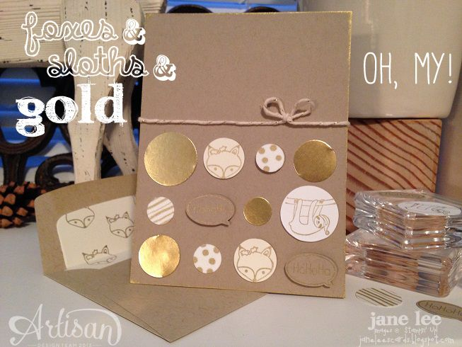 Love the gold foxes & sloths: Christmas Cards, Gold Foxes, Full Photo, Colors, 2014 Stamps, 2014 Opportunity, Jane Stamps, Inspiration Stampin Up, Http Janeleescard Blogspot Com