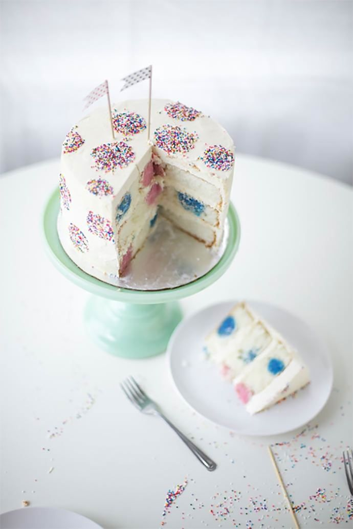 Sprinkles and polka dot surprise-inside colorful cake balls will make this a birthday cake one to remember!