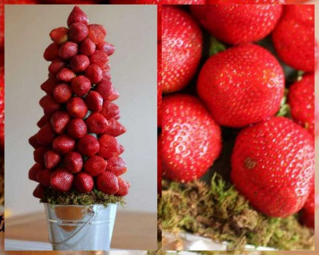 Instructions on how to make a Strawberry Topiary Tree. Could fill in spaces with mint and could use chocolate covered strawberries.