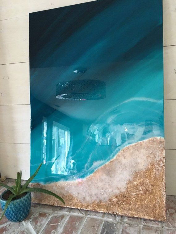At The Ocean Beach Teal Blue Sand And Mica Epoxy Resin Art