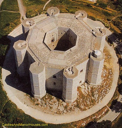 Castel del Monte (Castle of the Mount),  provincia dell'Aquila, Abruzzo, Italy...     http://www.castlesandmanorhouses.com   ....    Castel del Monte is a 13th-century citadel and castle standing on a promontory. It was constructed during the 1240s by the Emperor Frederick II who had inherited the lands from his mother, Constance of Sicily.  The Castel del Monte is a World Heritage Site, and appears on the Italian version of the one-cent euro coin.