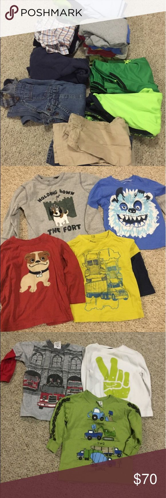 2T Boys Lot Excellent pre loved condition. Well cared for 2T  boys lot includes a pair of overalls, zip-up hoodie, 4 pairs of pants, 7 long sleeve shirts, 4 tees, 2 track suits, 4 pajama sets. •Use the offer button. Reasonable offers considered. More photos available, pic stitch wouldn't work well with them. Osh kosh, Nike, adidas, converse for some items Osh Kosh Other