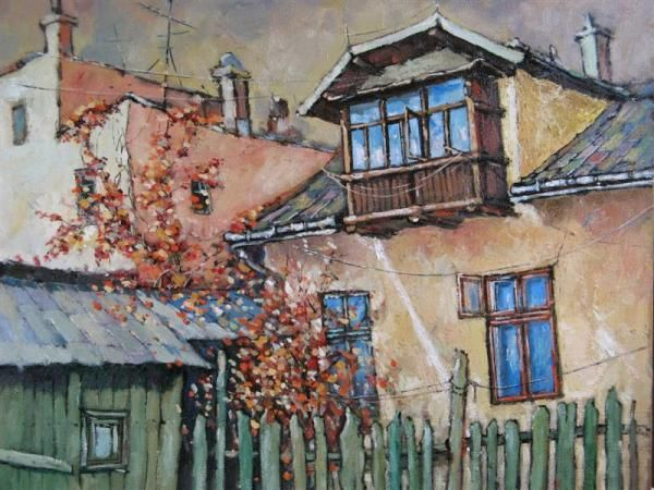old house in Vatra Dornei Painting by Romanian painter David Croitor,
