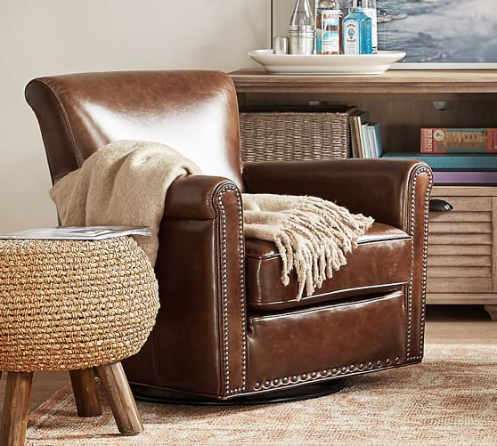 Irving Roll Arm Leather Swivel Armchair With Nailheads